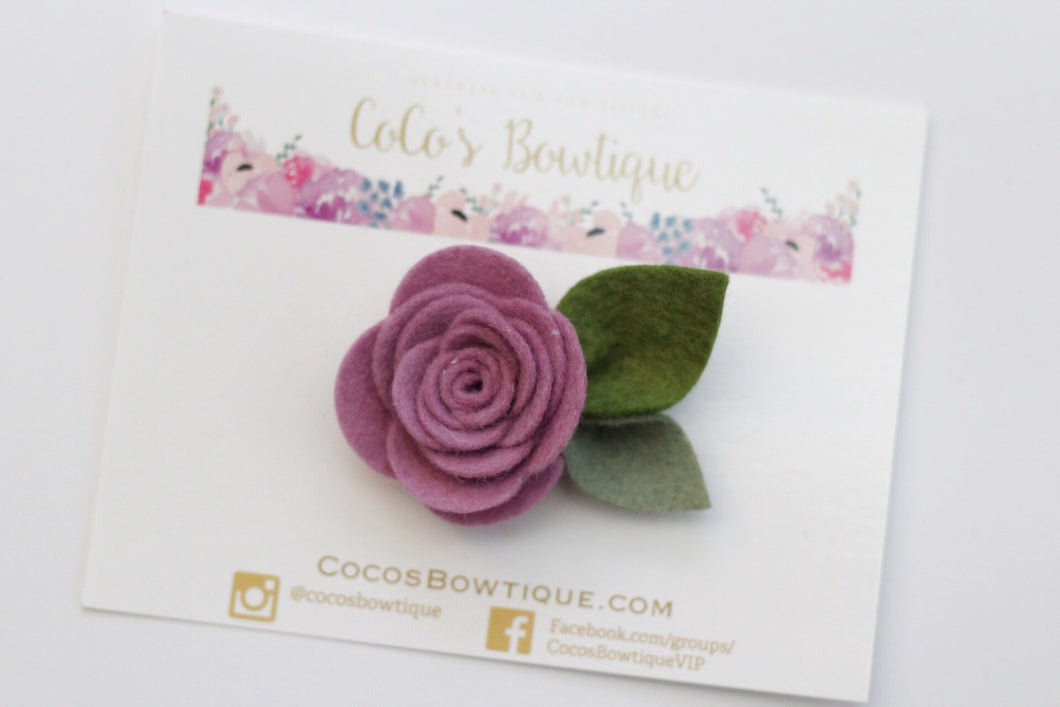 Mauve- Wool Felt Rose Flower- Available on all attachments