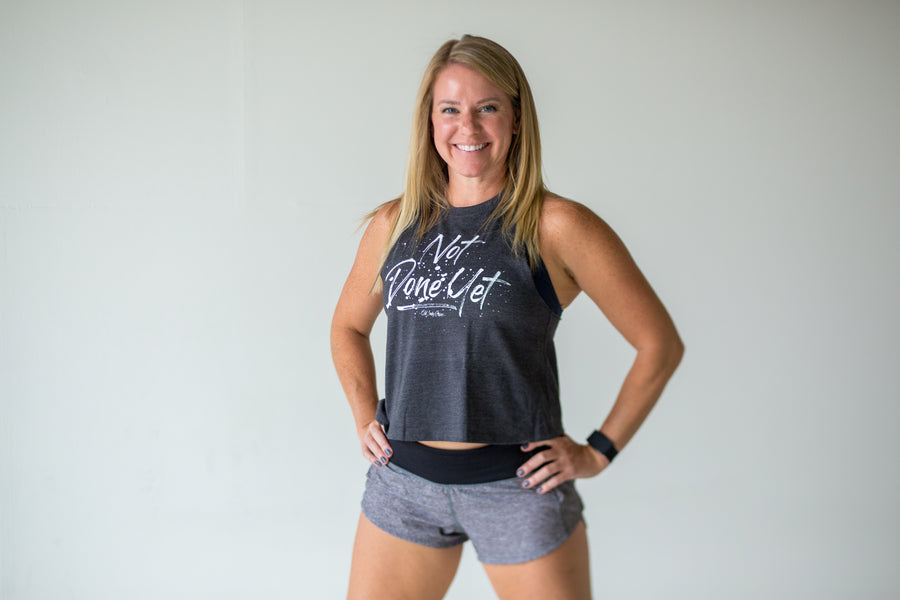 Not Done Yet Crop Tank - Grey