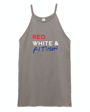 Red White & Fit-ish Halter Tank