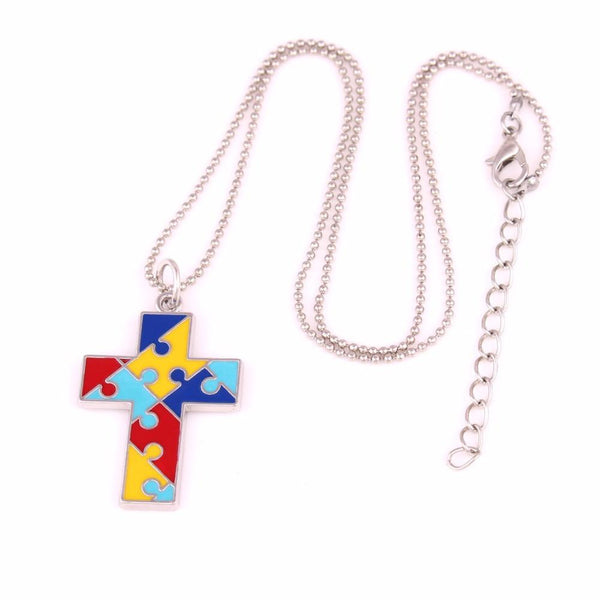Autism Awareness Cross Necklace