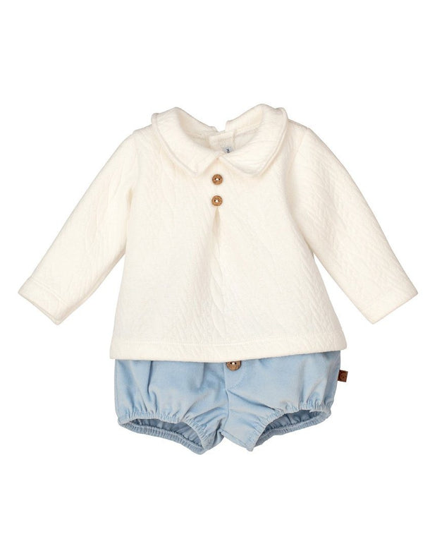 "Calamaro ""Amaltea"" Ivory Top with Blue Cord Jam Pants 