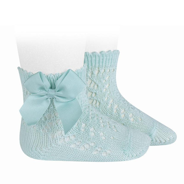 Condor Aquamarine Ankle Openwork Bow Socks | Millie and John