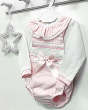 "Little Nosh ""Ari"" Baby Pink Smocked Dungaree Romper Set 