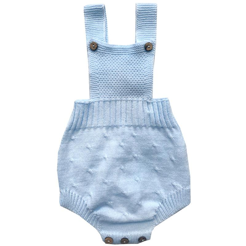 Dulce de Fresa Baby Blue Knitted Dungaree Romper | Millie and John