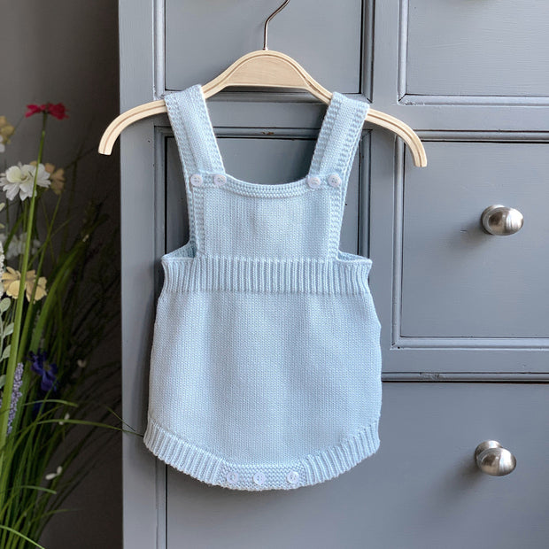 Wedoble Baby Blue Knitted Dungaree Romper | Millie and John