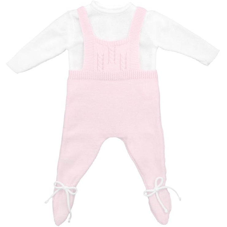 Dulce de Fresa Baby Pink Dungaree Romper Set | Millie and John