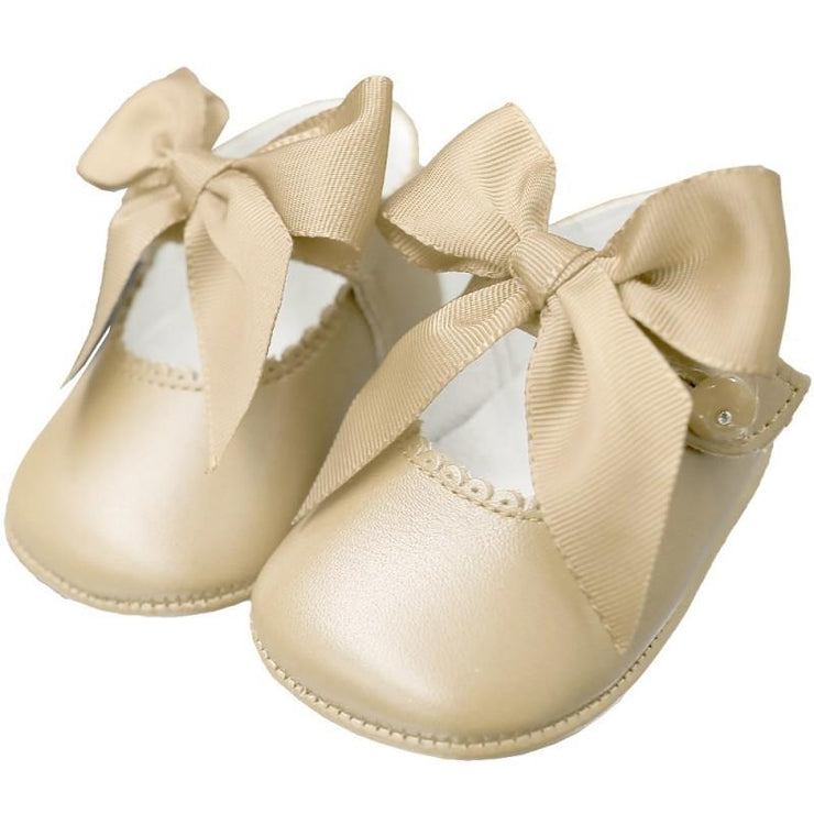 Top Baby Beige Leather Bow Soft Sole Shoes | Millie and John