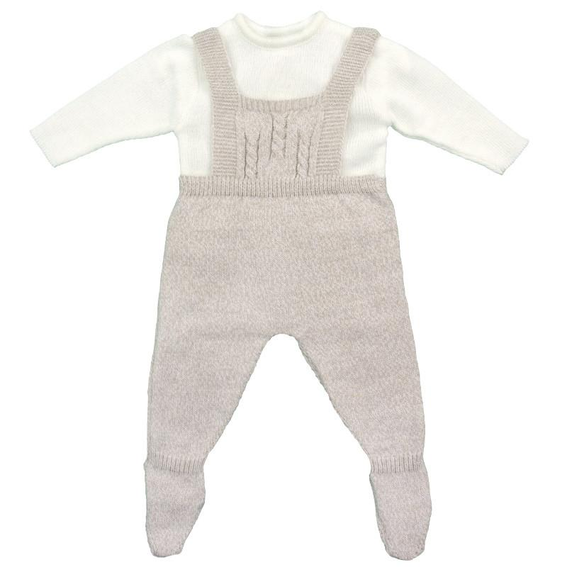 Beige Marl Knitted Dungaree Set