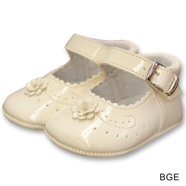 Top Baby Beige Patent Leather Flower Soft Sole Shoes | Millie and John