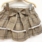 Phi Beige Tartan Bow Skirt | Millie and John