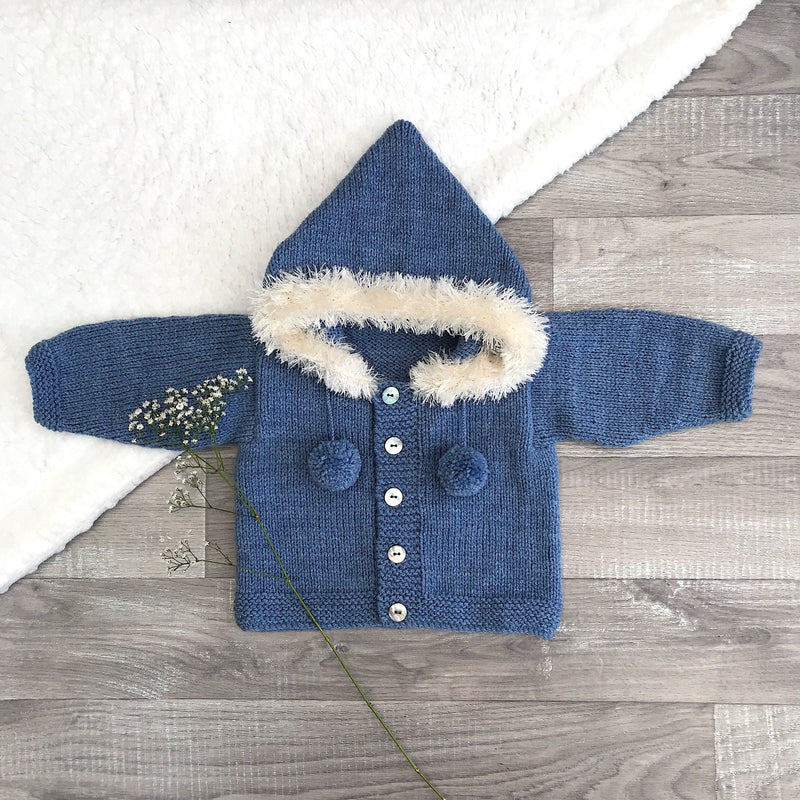 Millie and John Bespoke Bespoke Denim Blue Faux Fur Hoodie | Millie and John