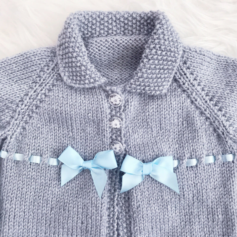 Millie and John Bespoke Bespoke Grey and Blue Bow Jacket | Millie and John