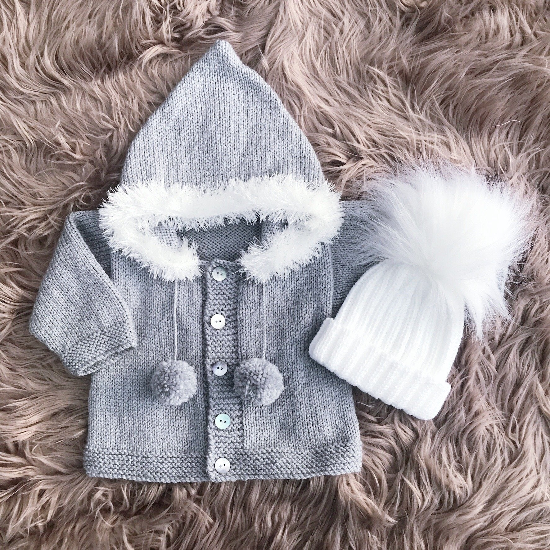 Millie and John Bespoke Bespoke Grey Faux Fur Hoodie | Millie and John