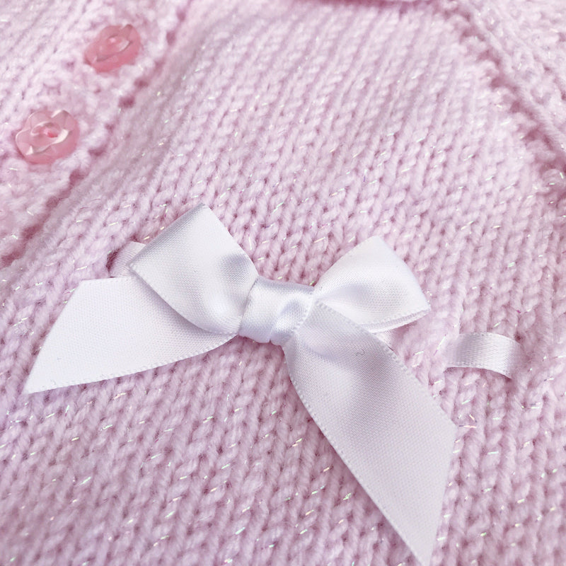 Millie and John Bespoke Bespoke Pink Sparkle Bow Jacket | Millie and John