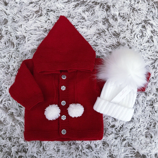 Millie and John Bespoke Bespoke Red Pom Pom Hoodie | Millie and John