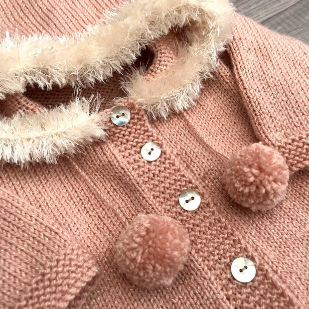 Millie and John Bespoke Bespoke Sparkly Dusky Peach Faux Fur Hoodie | Millie and John