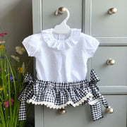 Phi Black Gingham Bow Bloomers | Millie and John