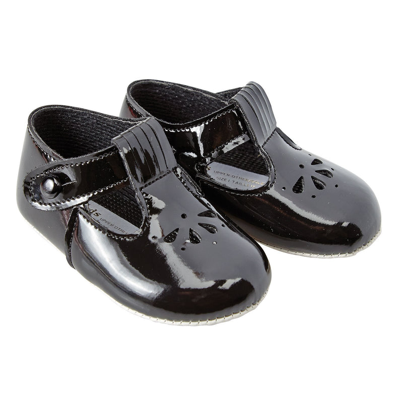 Baypods Black Patent Petal Punch T-Bar Shoes | Millie and John