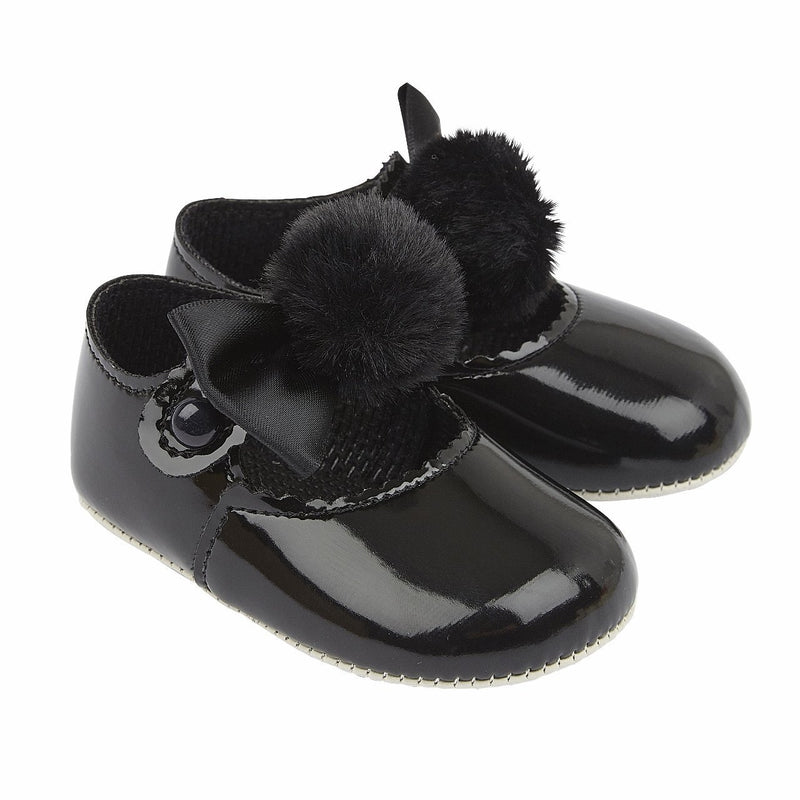 Black Pom Pom Soft Sole Shoes