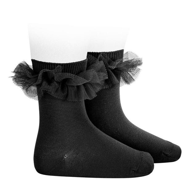 Black Tulle Short Socks