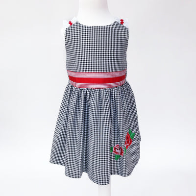 Alber Black & White Gingham Rose Dress | Millie and John