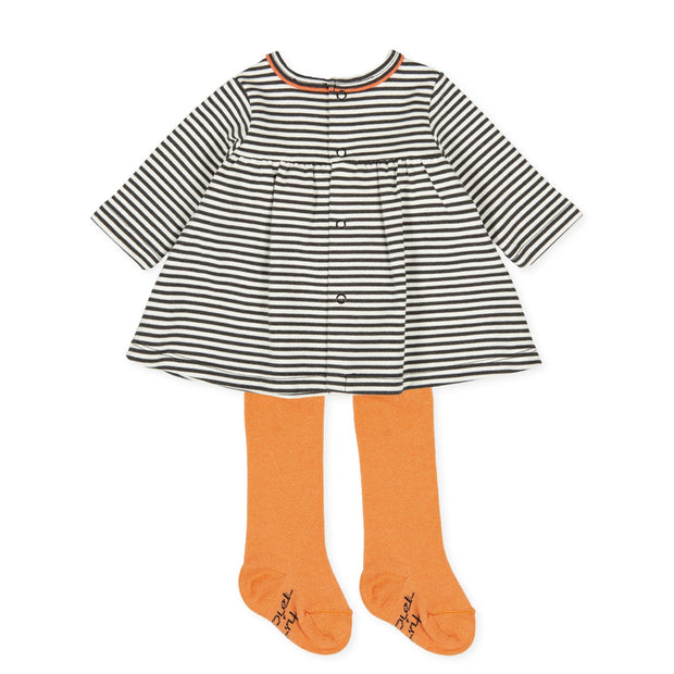Tutto Piccolo Black & White Striped Dress and Tights | Millie and John