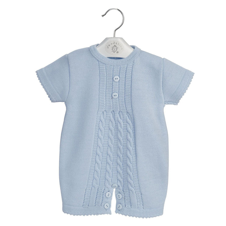 Dandelion Blue Cable Knit Romper | Millie and John
