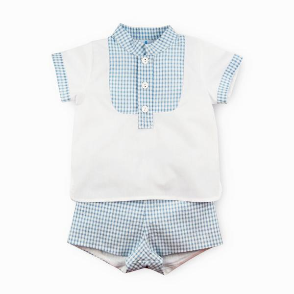 Sardon Blue Check Shirt & Shorts | Millie and John