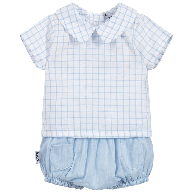 Babidu Blue Check Top & Jam Pants | Millie and John