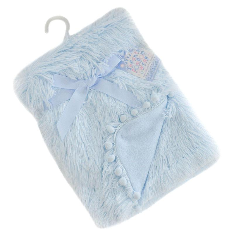 Soft Touch Blue Deluxe Faux Fur Blanket with Pom Poms | Millie and John