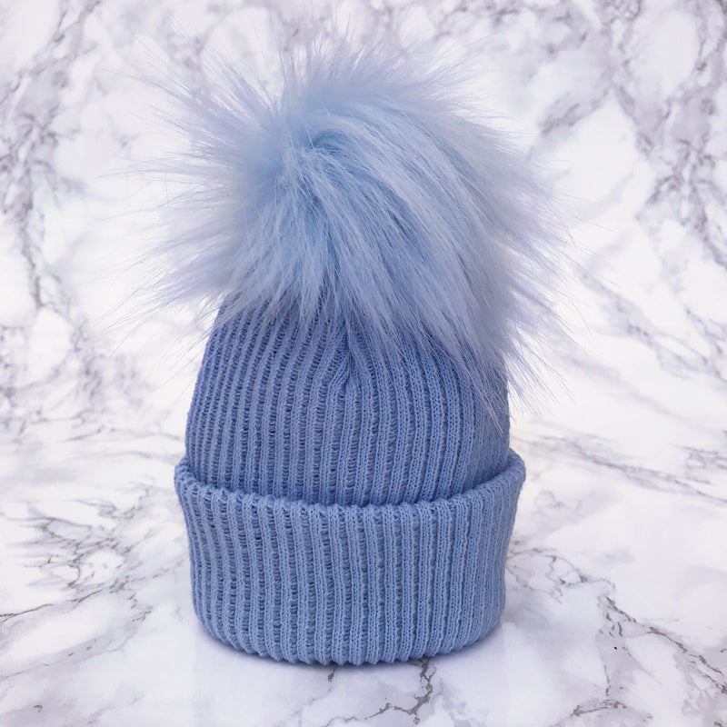 Millie and John Blue Faux Fur Pom Pom Hat | Millie and John