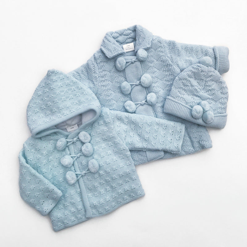 Little Nosh Blue Fleece Lined Knitted Hoodie | Millie and John