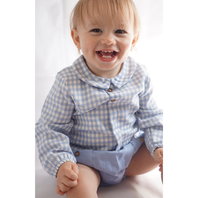 Babidu Blue Gingham Shirt & Jam Pants | Millie and John