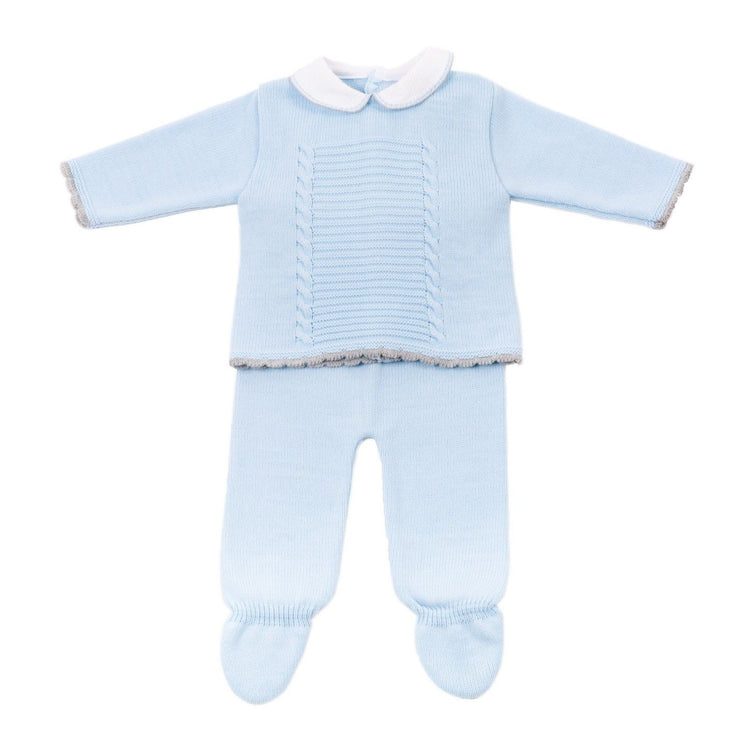Dandelion Blue & Grey Knitted 2-Piece Set | Millie and John