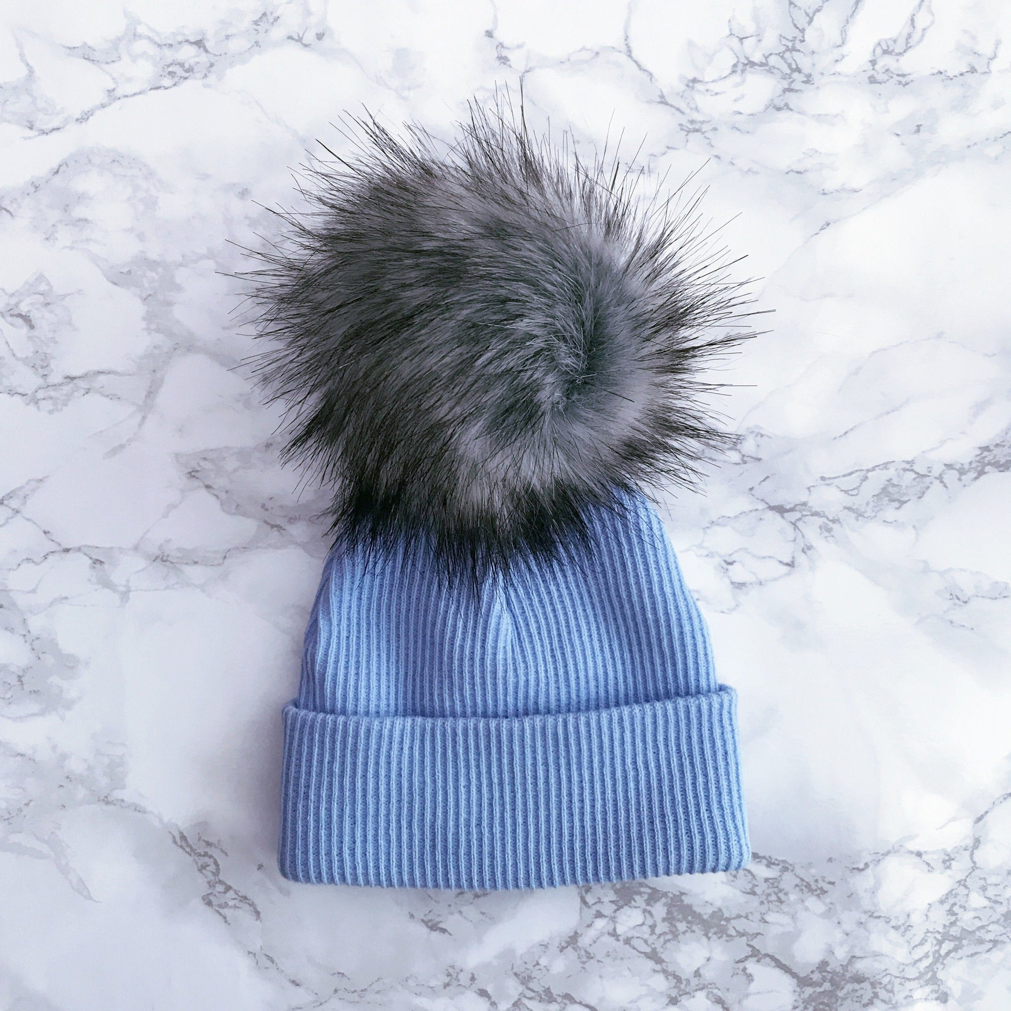 Millie and John Blue & Grey Ribbed Pom Pom Hat | Millie and John
