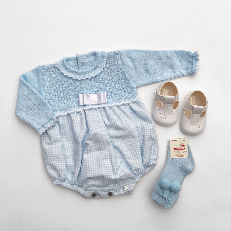 Visi Blue Half Knit Checked Romper | Millie and John