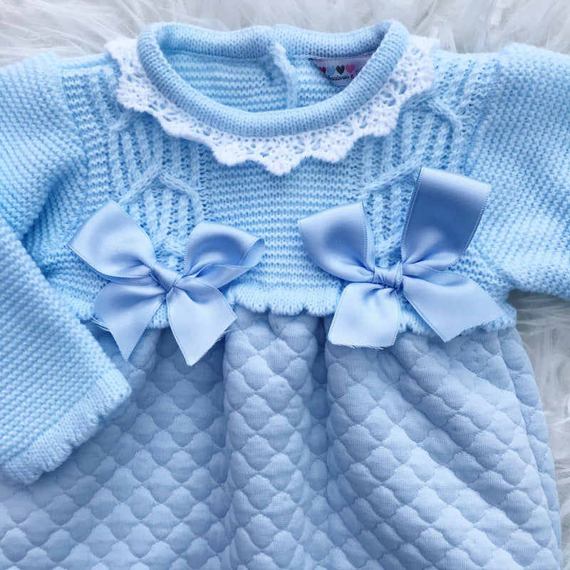Alber Blue Half Knit Quilted Romper | Millie and John