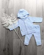 Babidu Blue Knit Hooded Tracksuit | Millie and John