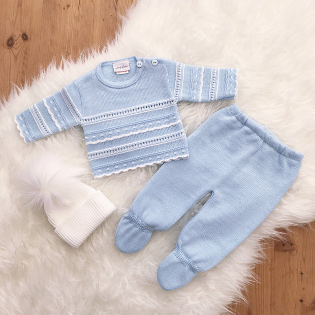 Dandelion Blue Knitted Pointelle 2-Piece Set | Millie and John