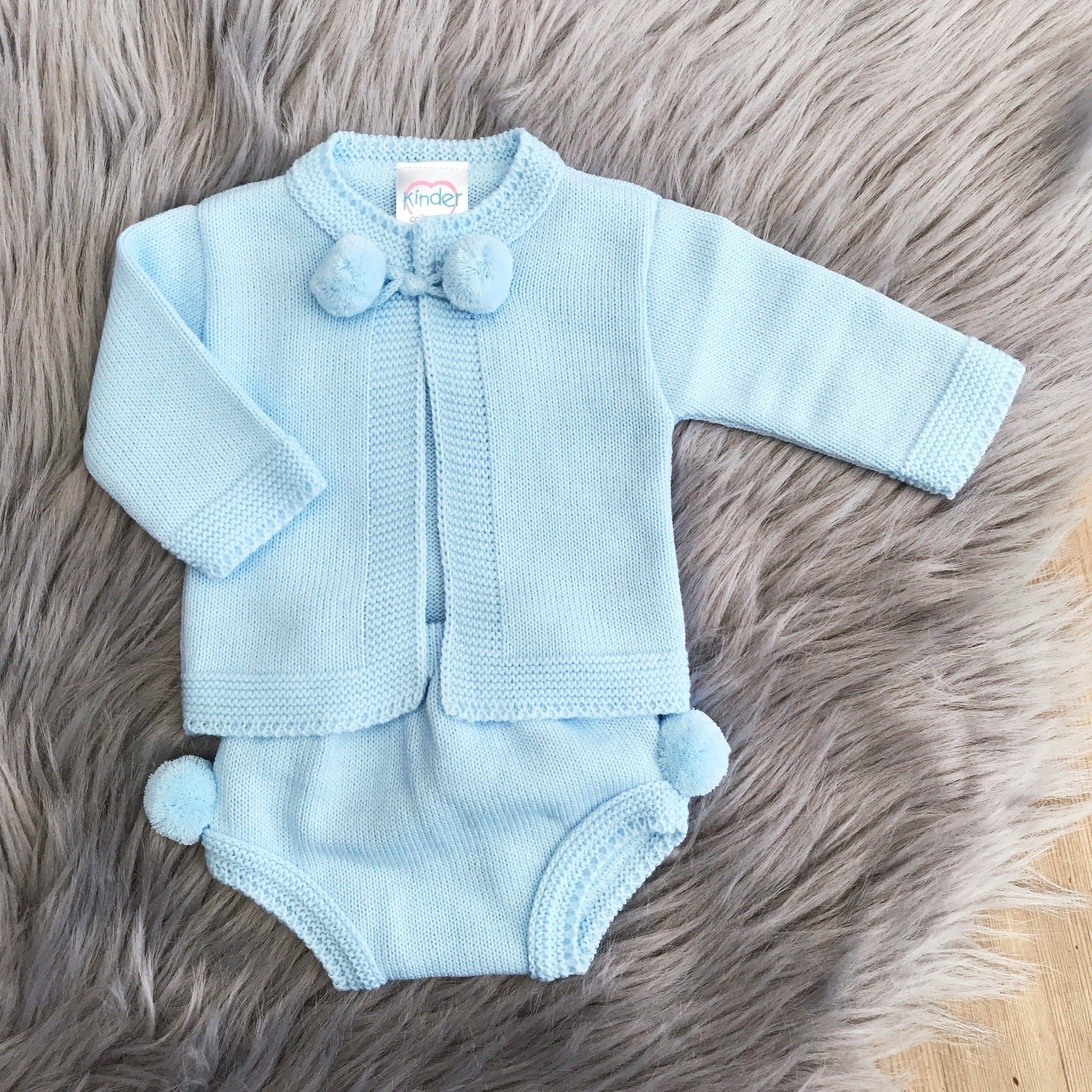 Kinder Blue Knitted Pom Pom Cardigan & Pants | Millie and John