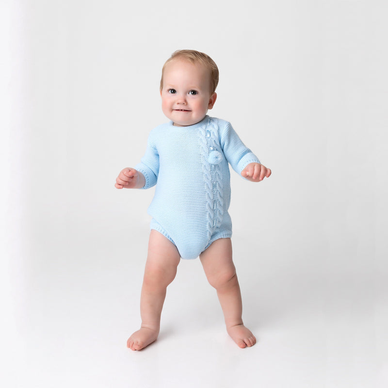 Kinder Blue Knitted Pom Pom Romper & Bonnet | Millie and John