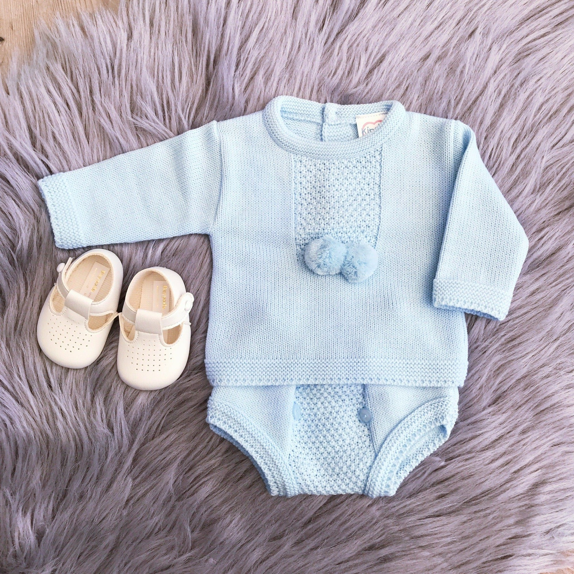 Kinder Blue Knitted Pom Pom Top & Pants | Millie and John