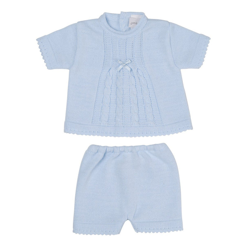 Dandelion Blue Knitted T-Shirt & Shorts | Millie and John
