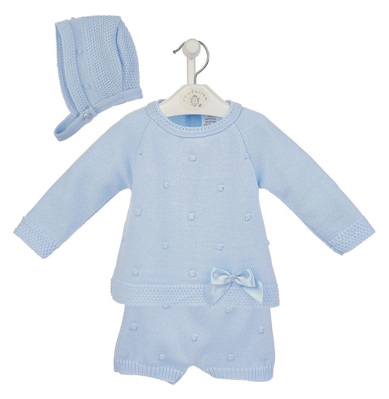 Dandelion Blue Knitted Top, Shorts & Bonnet | Millie and John