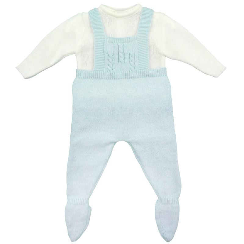 Blue Marl Knitted Dungaree Set