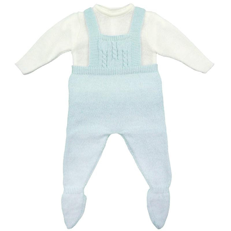 Dulce de Fresa Blue Marl Knitted Dungaree Set | Millie and John