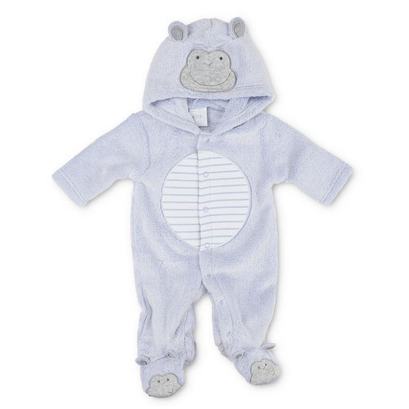 Pitter Patter Blue Monkey Fleece All In One | Millie and John