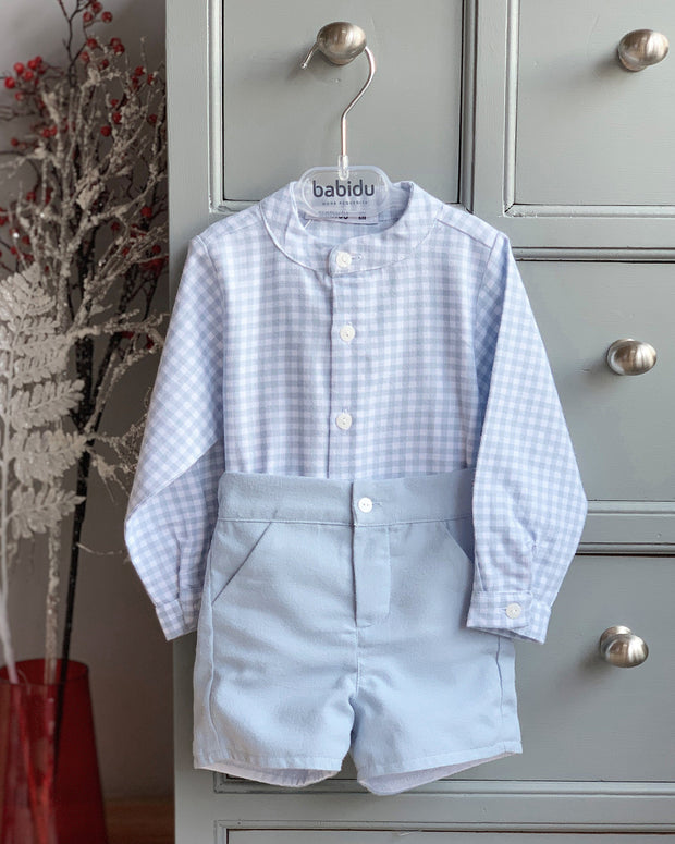 Babidu Blue Pastel Check Shirt & Shorts | Millie and John