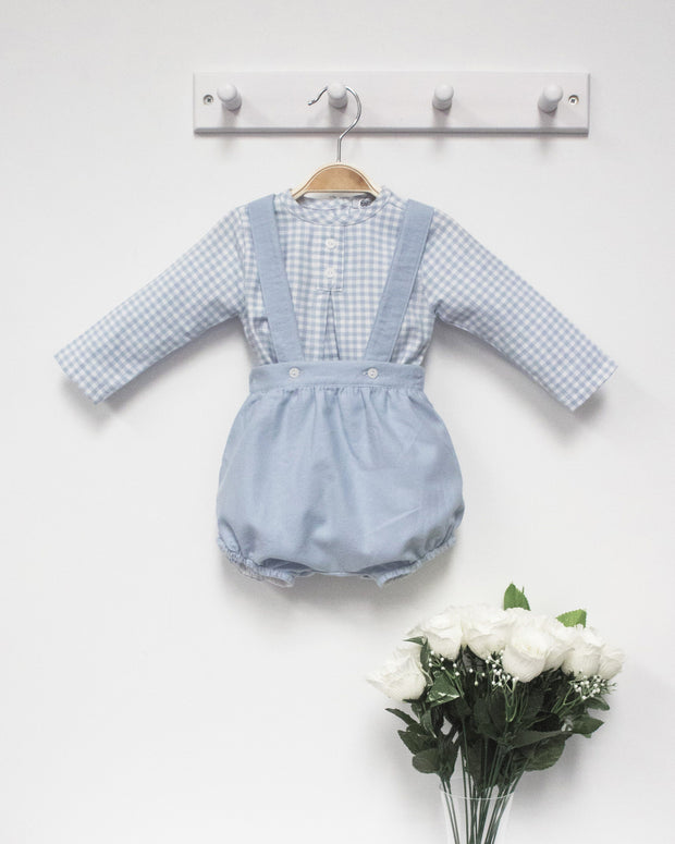 Babidu Blue Pastel Check Shirt & Shorts with Braces | Millie and John