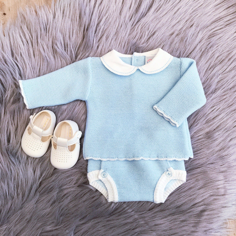 Kinder Blue Piqué Collar Knitted Top & Pants | Millie and John
